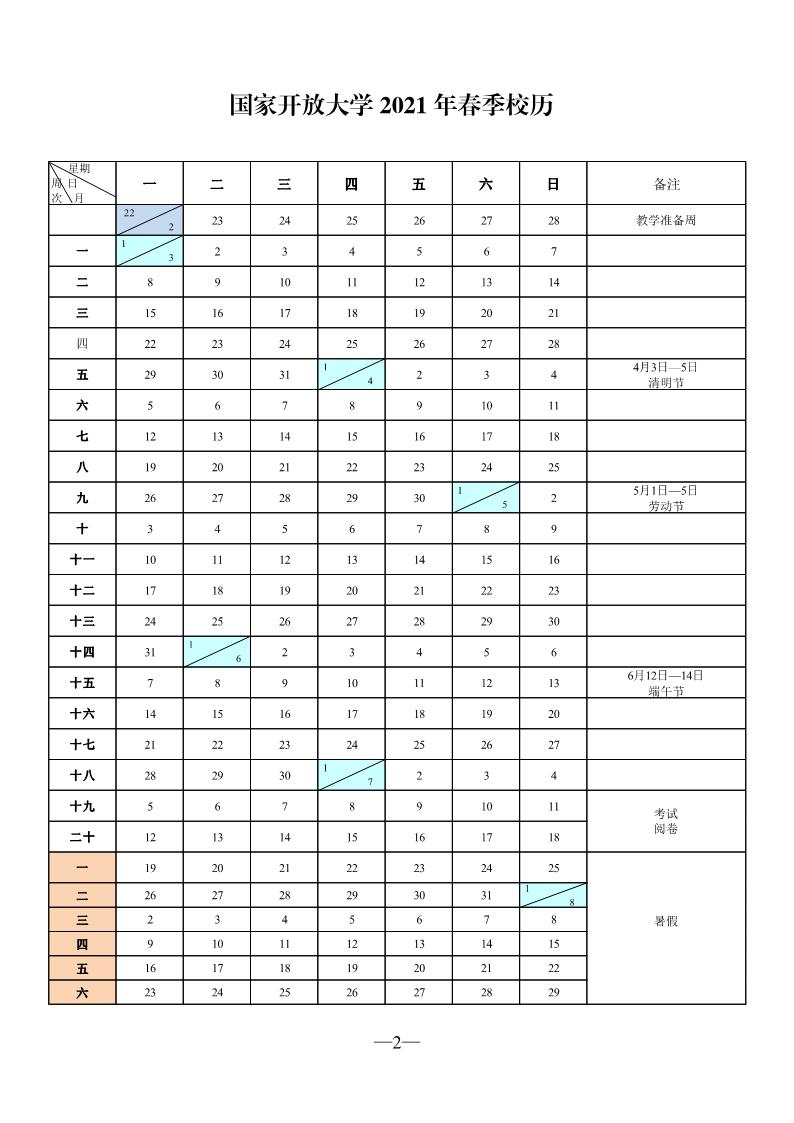 关于印发国家开放大学2021年春季校历的通知_1.png